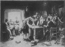 The signing of the Mayflower Compact (image: Library of Congress Call #LC-D419-185)